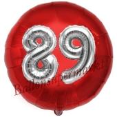 Runder Luftballon Jumbo Zahl 89, rot-silber mit 3D-Effekt zum 89. Geburtstag