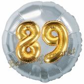 Runder Luftballon Jumbo Zahl 89, silber-gold mit 3D-Effekt zum 89. Geburtstag