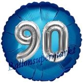 Runder Luftballon Jumbo Zahl 90, blau-silber mit 3D-Effekt zum 90. Geburtstag