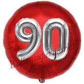 Runder Luftballon Jumbo Zahl 90, rot-silber mit 3D-Effekt zum 90. Geburtstag