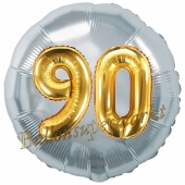 Runder Luftballon Jumbo Zahl 90, silber-gold mit 3D-Effekt zum 90. Geburtstag