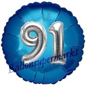 Runder Luftballon Jumbo Zahl 91, blau-silber mit 3D-Effekt zum 91. Geburtstag