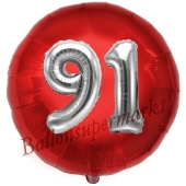 Runder Luftballon Jumbo Zahl 91, rot-silber mit 3D-Effekt zum 91. Geburtstag