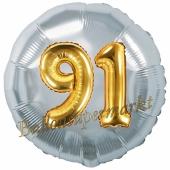 Runder Luftballon Jumbo Zahl 91, silber-gold mit 3D-Effekt zum 91. Geburtstag