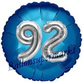 Runder Luftballon Jumbo Zahl 92, blau-silber mit 3D-Effekt zum 92. Geburtstag
