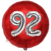 Runder Luftballon Jumbo Zahl 92, rot-silber mit 3D-Effekt zum 92. Geburtstag