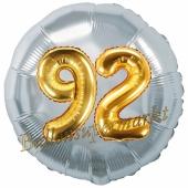 Runder Luftballon Jumbo Zahl 92, silber-gold mit 3D-Effekt zum 92. Geburtstag