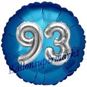 Runder Luftballon Jumbo Zahl 93, blau-silber mit 3D-Effekt zum 93. Geburtstag