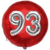 Runder Luftballon Jumbo Zahl 93, rot-silber mit 3D-Effekt zum 93. Geburtstag