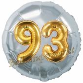 Runder Luftballon Jumbo Zahl 93, silber-gold mit 3D-Effekt zum 93. Geburtstag