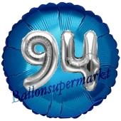Runder Luftballon Jumbo Zahl 94, blau-silber mit 3D-Effekt zum 94. Geburtstag