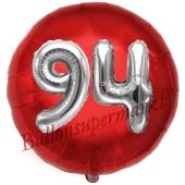 Runder Luftballon Jumbo Zahl 94, rot-silber mit 3D-Effekt zum 94. Geburtstag