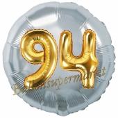 Runder Luftballon Jumbo Zahl 94, silber-gold mit 3D-Effekt zum 94. Geburtstag