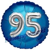 Runder Luftballon Jumbo Zahl 95, blau-silber mit 3D-Effekt zum 95. Geburtstag