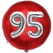 Runder Luftballon Jumbo Zahl 95, rot-silber mit 3D-Effekt zum 95. Geburtstag