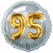 Runder Luftballon Jumbo Zahl 95, silber-gold mit 3D-Effekt zum 95. Geburtstag