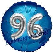 Runder Luftballon Jumbo Zahl 96, blau-silber mit 3D-Effekt zum 96. Geburtstag