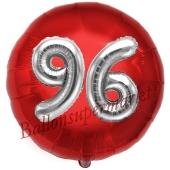 Runder Luftballon Jumbo Zahl 96, rot-silber mit 3D-Effekt zum 96. Geburtstag