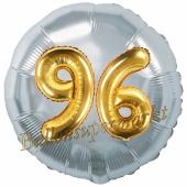 Runder Luftballon Jumbo Zahl 96, silber-gold mit 3D-Effekt zum 96. Geburtstag