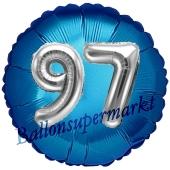 Runder Luftballon Jumbo Zahl 97, blau-silber mit 3D-Effekt zum 97. Geburtstag