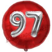 Runder Luftballon Jumbo Zahl 97, rot-silber mit 3D-Effekt zum 97. Geburtstag