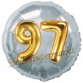 Runder Luftballon Jumbo Zahl 97, silber-gold mit 3D-Effekt zum 97. Geburtstag