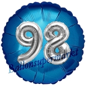 Runder Luftballon Jumbo Zahl 98, blau-silber mit 3D-Effekt zum 98. Geburtstag