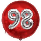 Runder Luftballon Jumbo Zahl 98, rot-silber mit 3D-Effekt zum 98. Geburtstag