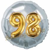 Runder Luftballon Jumbo Zahl 98, silber-gold mit 3D-Effekt zum 98. Geburtstag
