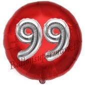 Runder Luftballon Jumbo Zahl 99, rot-silber mit 3D-Effekt zum 99. Geburtstag