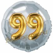 Runder Luftballon Jumbo Zahl 99, silber-gold mit 3D-Effekt zum 99. Geburtstag