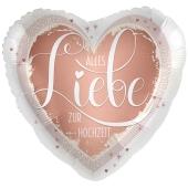 Satin-Luftballon aus Folie, Alles Liebe zur Hochzeit, Schmetterlinge, ohne Helium