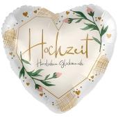 Hochzeit, Herzlichen Glückwunsch, Satin Herzballon zur Hochzeit, Folienballon inklusive Helium