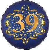 Satin Navy Blue Zahl 39 Luftballon aus Folie zum 39. Geburtstag, 45 cm, Satin Luxe, heliumgefüllt