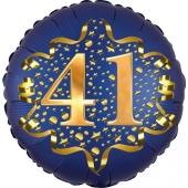 Satin Navy Blue Zahl 41 Luftballon aus Folie zum 41. Geburtstag, 45 cm, Satin Luxe, heliumgefüllt
