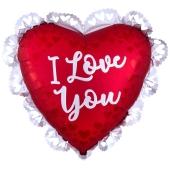 Satin Sangria Love, I Love You Luftballon aus Folie inklusive Helium