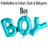 Luftballon aus Folie Boy Schriftzug, Folienballon zur Luftbefüllung