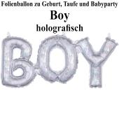 Holografischer Luftballon aus Folie Boy Schriftzug, Folienballon zur Luftbefüllung