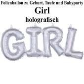 Holografischer Luftballon aus Folie Girl Schriftzug, Folienballon zur Luftbefüllung