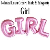 Luftballon aus Folie Girl Schriftzug, Folienballon zur Luftbefüllung