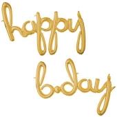 Happy Bday, gold, Schriftzug, Folienballons zur Luftbefüllung
