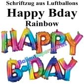 Happy Bday, rainbow, Schriftzug, Folienballons zur Luftbefüllung