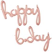 Happy Bday, roségold, Schriftzug, Folienballons zur Luftbefüllung