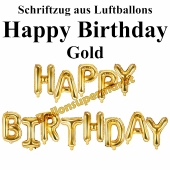 Happy Birthday, gold, Schriftzug, Folienballons zur Luftbefüllung