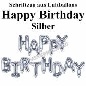 Happy Birthday, silber, Schriftzug, Folienballons zur Luftbefüllung
