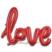 Love, rot, Schriftzug, Folienballon zur Luftbefüllung