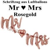 Mr and Mrs roségold, Schriftzug, Folienballons zur Luftbefüllung