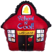 School is Cool! Schulhaus Luftballon zum Schulanfang mit Ballongas Helium