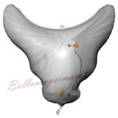 Luftballon aus Folie, Hochzeitstaube ohne Helium-Ballongas