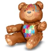 sitzender Teddybär, Happy Birthday, Folienballon zur Luftbefüllung